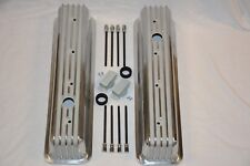 POLISHED Small Block Chevy Tall Finned Center Bolt Valve Covers Vortec 350 400