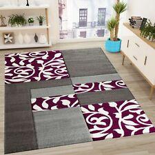 Moderner Designer Teppich mit Blumenmuster Kariert, Konturenschnitt in Grau Lila