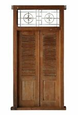 Balinese Original Antique Iron Natural Louvre Timber Hand Carved Door - 8A