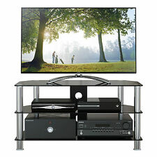 "BLACK GLASS TV STAND with silver tubes for PLASMA/LCD/LED TV 46""47""50""52""56"""