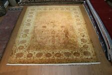 FINE QUALITY 8' x 10' Handmade Hand-knotted 100% NATURAL SILK PILE peach floral