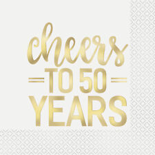 16 x Cheers to 50 Years Gold Foil Finish Party Napkins 50th Birthday Anniversary