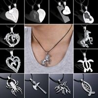 Silver Stainless Steel Men Women Punk Necklace Pendant Leather Chain Couple Gift