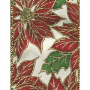 Red Sparkle Poinsettia White Satin Solid Wide Wired Ribbon 25 yd NEW christmas
