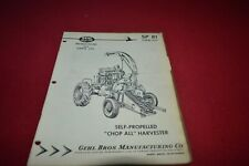 Gehl 81 Self Propelled Forage Harvester Dealers Parts Book CDIL