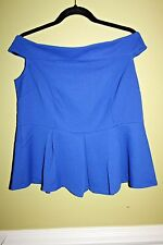 ELOQUII FASHION OFF SHOULDER TOP BLOUSE ROYAL BLUE LADIES SIZE 14 NWT