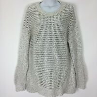 Gap XL Beige Chunky Knit Sheer Cotton Sweater Pullover Long Sleeve Womens