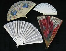 Mixed Lot Of Four Antique Fans Celluloid, Silk, Paper