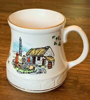 Carrigaline Pottery Cork Ireland Shamrocks Thatch Roof Cottage 1970  Mug Cup