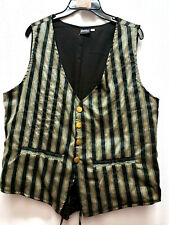 Unisex Black Stripe single breasted re-enactment Steampunk old west vest XXLARGE