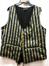 Unisex Black Stripe single breasted re-enactment Steampunk old west vest XLARGE