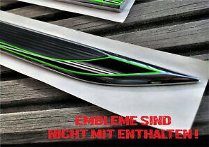 Plakette Line Schwarz Seitenemblem Sticker Neon Grün Schriftzug Autoaufkleber