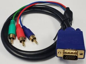 PTC Premium VGA to 3-RCA RGB Component Video Cable For TV Monitor Projector 3 ft