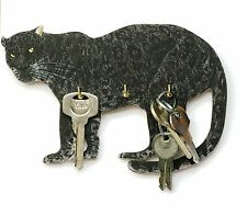 Black Panther Design Wall Hanging Wooden Key Rack 3 Hooks  Made in UK Ideal Gift