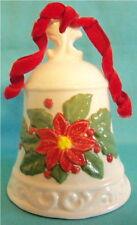 Vintage Poinsettia Art Pottery Christmas Bell with Red Velvet Ribbon