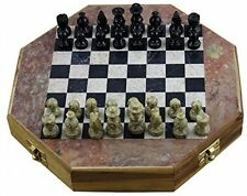 RoyaltyRoute Octangle Shape Marble Stone Chess Pieces And Board Game Set 20 X