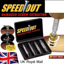 4X Speed Out Screw Extractor Drill Bits Tool Set Broken Damaged Bolt Remover UK