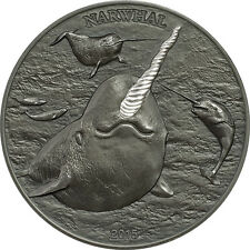 Cook Islands Narwhal Unicorn of the Sea Silver Partial Proof Antique Finish