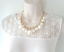 """Gorgeous 18"""" long gold tone & faux pearl necklace & earrings set  #66"""