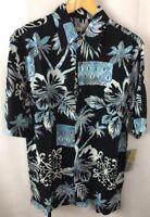 Batik Bay Shirt Size Small Black Tropical Palms Short Sleeve Vented Hem Rayon A1