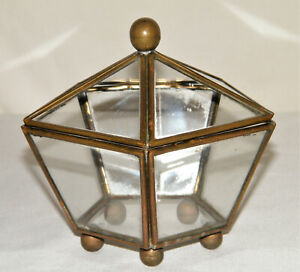 Vintage/Antique BRASS & GLASS 5-Sided PENTAGON BOX W/ DOMED LID Jewelry~Display