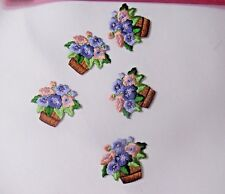 """PANSY FLOWER IRON ON EMBROIDERED APPLIQUES LOT OF 5 1 3/4"""" X 2"""""""