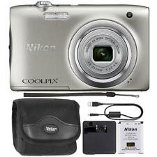 Nikon Coolpix A100 20.1MP Compact Digital Camera Silver with Camera Case