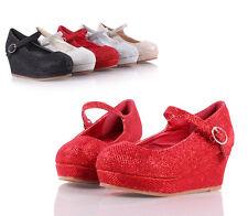 Red Blink Glitter Pumps Buckle Girls Heels Kids Dress Shoes Girls Youth Size 4