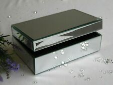 Mirror Silver Glass Jewellery Trinket Box with Ring Compartment - Ladies Gift