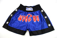 Boxe thai boxing Vintage Nylon Shiny Glanz Shorts bleu royal et noir L bon!!!