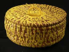 Antique COUSHATTA  BASKET FOLK ART PINE NEEDLE Yellow Raffia Covered Basket