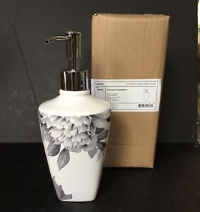 LENOX MOONLIT GARDEN Soap/Lotion Pump Dispenser Black Floral On White New!
