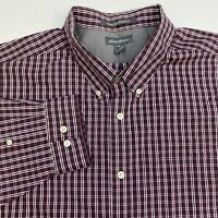 Eddie Bauer Button Up Shirt Mens 2XLT XXLT Long Sleeve Maroon Plaid Wrinkle Free