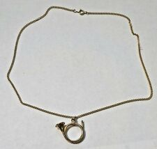 """Vintage 18"""" Gold Tone French Horn Necklace"""