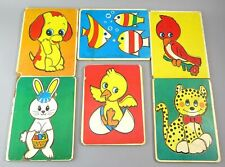 Lot of 6 Vintage Montgomery Ward Play & Learn Pre-school Wooden Puzzles