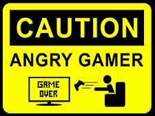 Caution Angry Gamer, retro vintage style metal sign/plaque Gaming xbox/play