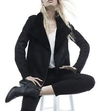 NWT Helmut Lang Black Shearling-Lined Leather Coat Sz Small ( Fits M) $2895
