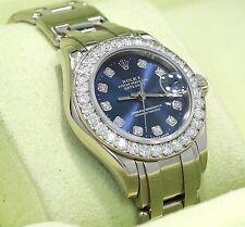 Rolex Masterpiece Pearlmaster 80299 18K W Gold Fact Diamond Bezel Dial B/P MINT