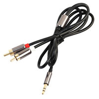 3.5mm to 2RCA Male Aux Audio For PC Headphone Splitter A Amplifier Cable Speaker