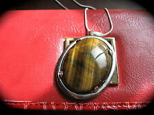 LARGE TIGER EYE PENDANT Cabochon 18k Gold Plate Chain Natural Stone Handmade