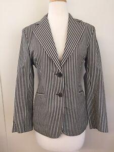 Women's Loro Piana Taupe/Cream Striped Blazer - IT44 US 34 XS Linen/Cotton/Silk