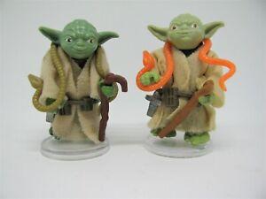 2 Vintage Star Wars Yodas Complete & Original Accessories Brown & Orange Snake