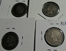 Canada 1891 1892 1899 1901 10 Cents Silver Dimes Lot of 4 Queen Victoria