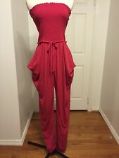 NWT Catherine Malandrino Pink Silk Strapless Slouchy Jumpsuit Size 12 MSRP $495