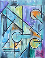 abstract A WINNING BET modern oil painting 8x10 canvas original signed Crowell
