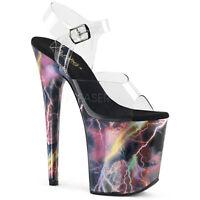 Pleaser FLAMINGO-808STORM Women's Clear Pink Hologram Heel Platform Strap Sandal