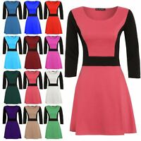 Womens Skater Dress Ladies Contrast Panel 3/4 Sleeve Flared Franki Swing Dress