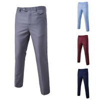 Men Solid Formal Business Long Pants Slim Fit Straight Leg Casual Suit Trousers