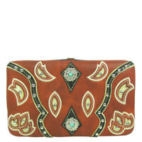 RED TURQUOISE STONE STUDDED MONTANA WEST RHINESTONE BLING LOOK FLAT THICK WALLET
