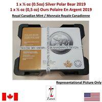 1 x 2019 Canada $2 0.5oz 1/2oz Polar Bear .9999 Fine Silver Bullion coin BU